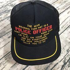 82c720a0 Police Officer Humor Trucker Baseball Cap Black Mesh Funny Perverted Vtg  80s Hat