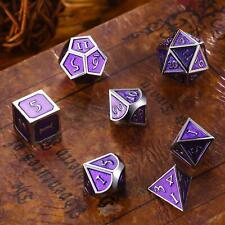 7Pc/Set Metal Polyhedral Dice Role Playing and Tabletop Game Purple