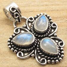 Blue Fire RAINBOW MOONSTONE TIBETAN Pendant ! Silver Plated CHRISTMAS Jewelry