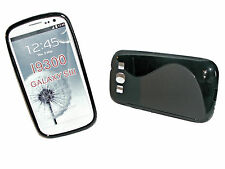 Rubber Silikon TPU Handy Hülle Cover Case in Schwarz für Samsung i9300 Galaxy S3