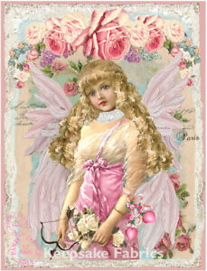 Angel Pink Roses Collage Art Fabric Crazy Quilt Block Free Shipping (A4