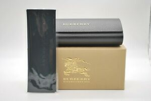 NEW BURBERRY AUTHENTIC EYEGLASSES SUNGLASSES BLACK ROUND HARD CASE AND CLOTH