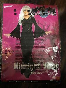 Sniffys Ladies Midnight Vamp Vampire Witch Costume Halloween Fancy Dress Small