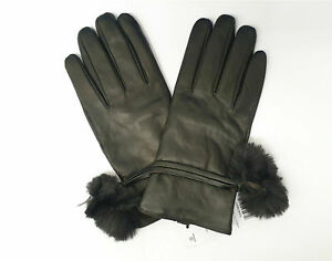 Dorothy Perkins Ladies Black Real Leather Gloves w/ Faux Fur Bobble, Size Medium