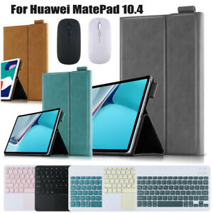 """For Huawei MatePad 10.4"""" 2020 Leather Case Bluetooth Keyboard Mouse Stand Cover"""