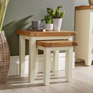 Modern White Solid Wood Nest of 2 Side End Coffee Tables Living Room Set