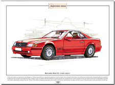 MERCEDES BENZ SL (1989-2001) - Fine Art Print - A3 size - German sports roadster