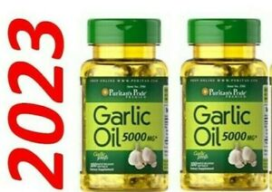 Garlic Oil 5000 MG 2 X 100 = 200 Caps Cholesterol Cardio Health Very Fresh Pills