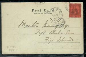 TRINIDAD COVER (P0407B) 1907 1D ON PPC SENT TO FIJI ISLANDS WITH SUVA RECEIVAL!!