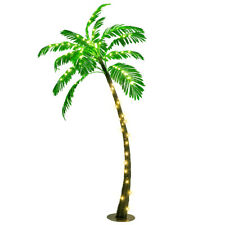 5 Ft Pre-lit Artificial Palm Tree Curve Trunk w/ Lights OutdoorPool Garden Decor