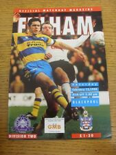 12/02/1994 Fulham v Blackpool  . Item appears to be in good condition unless pre
