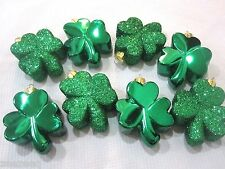 St Patrick's Day Shiny Glitter Green Shamrock Ornaments Decorations Set of 8