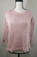 Madewell Marled Plaza Pullover Sweater Coral and Brown Cable Knit Womens Size S