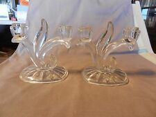 "Vintage Pair of 2 Arm Art Deco Clear Glass Candlestick Holders 6"" Tall (M)"