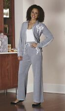 Monroe and Main Butterfly Velour Pant Set Jacket Gray Lounge 2-Piece Size Medium