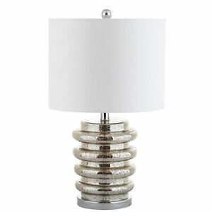 """22.75"""" Allen LED Glass Table Lamp Silver JONATHAN Y"""