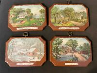 """Vintage Currier Ives 4 Seasons Decoupage Wooden Plaques Ready to Hang 5""""x7"""""""