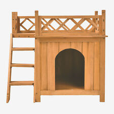 Dog Puppy Pet House Wooden Room W/Roof Balcony Bed Shelter Indoor Outdoor