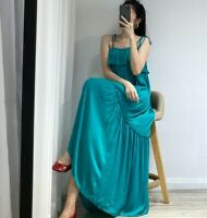 ZARA STRAPPY OVERSIZED TURQUOISE MAXI TAFFETA RUFFLED DRESS FRILLED FLOUNCE TRIM