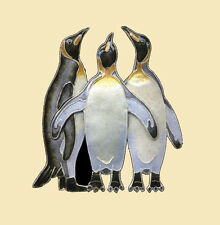 Bamboo Jewelry THREE KINGS PENGUIN Pin STERLING Silver Cloisonne + Wrapped Box