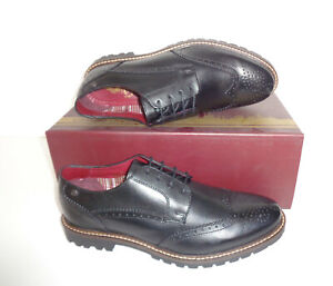 Base London Mens Leather Black Brogues Formal Shoes New RRP £80 UK Sizes 5-12
