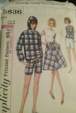 Simplicity Pattern 5836 Vintage Hooded Front Zip Jacket  Skirt Shorts  Size 14
