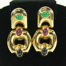 14K Yellow Gold, Italian Emerald, Ruby and Sapphire Pair of Earrings