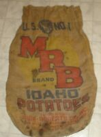 Vintage MRB Idaho Potatoes 100 Pound Burlap Sack Bag Muir-Roberts Co. (X13)