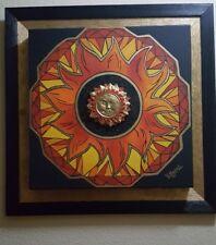 "Mandala sobre lienzo pintada a mano ""Rueda de la fuerza"""