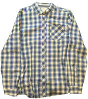 Heritage Mens Flannel Button Down Shirt Blue/White Plaid Long Sleeve Size Large