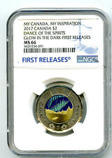 2017 CANADA $2 TOONIE NGC MS66 GLOW IN DARK DANCE OF SPIRITS MY INSPIRATION FR