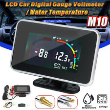 12 - 24V  2 in 1 LCD Digital Display Voltmeter Water Temp Temperature Gauge Auto