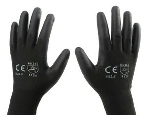 NYLON PU COATED SAFETY WORK GLOVES Work Gloves. Gardening, Builders, Mechanic