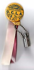 Vintage 1960s UCLA Rose Bowl Pin Button with ribbons & Pencil Sharpener charm