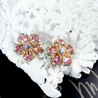 Chic 925 Silver Flower Zircon Crystal Earrings Ear Stud Women Jewelry Xmas Gifts