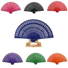 Classic Elegant Dyed Wood Hollow Carved Foldable Hand Fan Wedding Party Gift