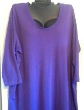 Dream Co Woman Long Gown Cotton Poly Loungewear Purple 3X 30/32 Sleeves New NWOT