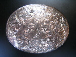 Vntg Montana Silversmith Belt Buckle Western Cowboy Sterling Silv Plate REDUCED!