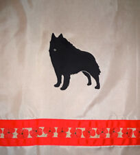Schipperke Dog on light brown Shower Curtain with red flower ribbons Sale