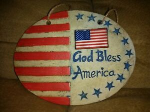 """Patriotic Red White Blue Ceramic GOD BLESS AMERICA Wall Plaque 6"""" FREE SHIPPING"""