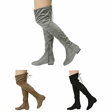 WOMENS LADIES HIGH OVER THE KNEE LOW HEEL FLAT LACE UP BOOTS SHOES SIZE 3-8