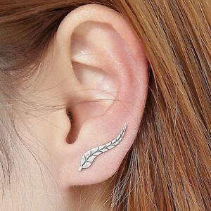 orecchini donna forma foglia a lobo monachella color argento destro sinistro da