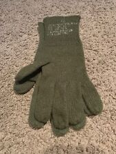 US MILITARY ARMY ISSUE - WOOL OD GREEN GLOVE LINERS - Size 4