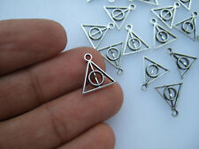 30 x Tibetan Silver Small Deathly Hallows Symbol Sign Charms Pendants Beads 13mm