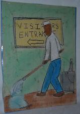 "Thaddeus Pinkney work on paper  'Visitors Way It' 8 3/4"" x 11"" outsider folk art"