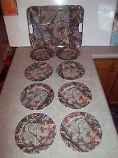 "New Set 8 Melamine Camo Realtree 8"" Plates & (1) Lg Serving Tray Picnic Outdoor"
