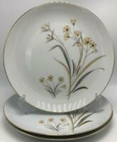"Meito China West Wind 3 Dinner Plates 10"" Yellow and Gray Flowers Gold Trim"