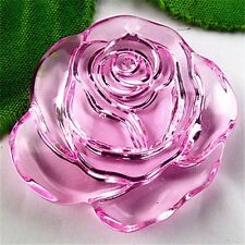 BS12030 41x38x11mm Beautiful pink Crystal carved flower pendant bead