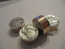 HANDMADE COPPER PIPE 90% SILVER MERCURY DIME BEADS (6) 3D COIN JEWELRY