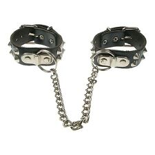 Real Black High Quality Leather Conical Punk Fetish Handcuffs Made In UK